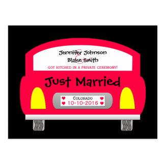 Wedding Elopement Announcement Postcard - Red Car