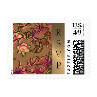Wedding Embossed Look Damask Autumn Colors Postage