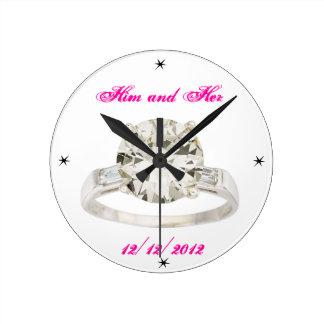 Wedding Engagement Add Names Date Modern Acryllic Round Clock