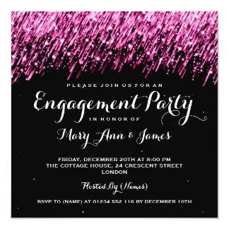 Wedding Engagement Falling Stars Pink Card