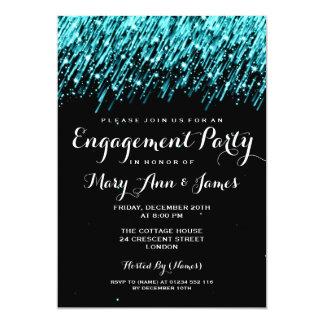 Wedding Engagement Falling Stars Turquoise Card