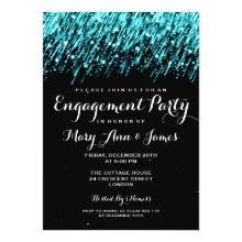 Wedding Engagement Falling Stars Turquoise Custom Invitation