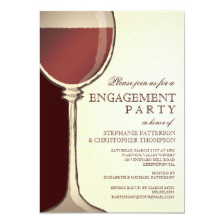 Wedding Engagement Party Aged Wine Themed Card
