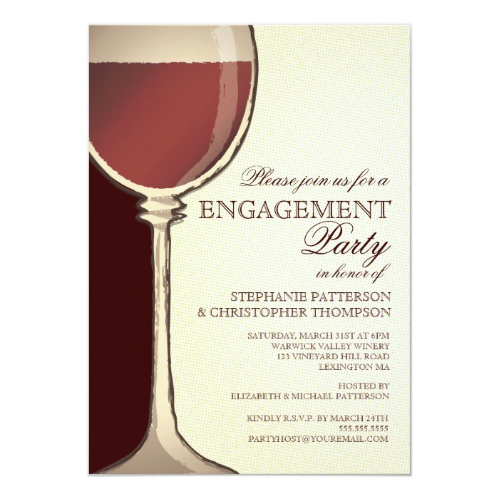 Wedding Engagement Party Aged Wine Themed Card | Zazzle