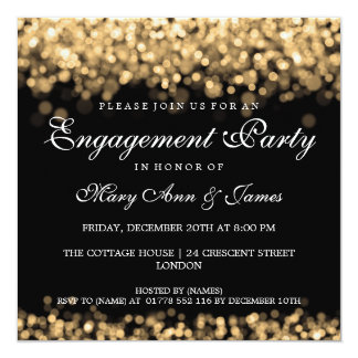 Wedding Engagement Party Gold Lights Invitation