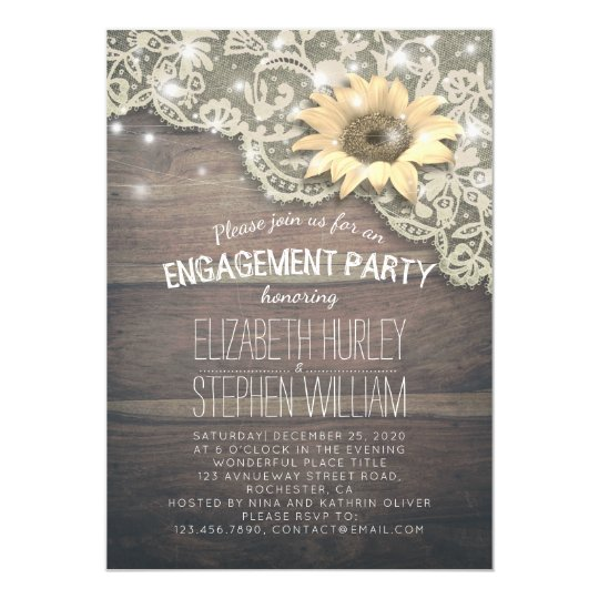 Wedding Engagement Party Lace Sunflower Wood Light Invitation