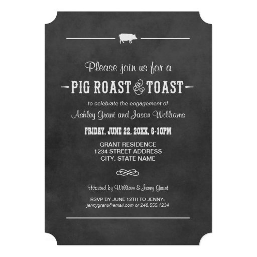 Wedding Engagement Party | Pig Roast & Toast 5x7 Paper ...