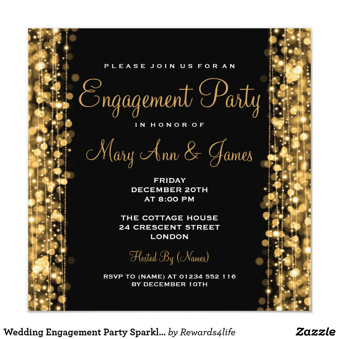 Wedding Engagement Party Sparkles Gold Invitation