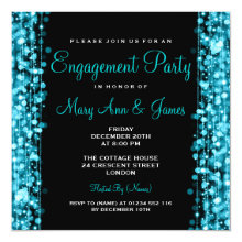 Wedding Engagement Party Sparkles Turquoise 5.25x5.25 Square Paper Invitation Card