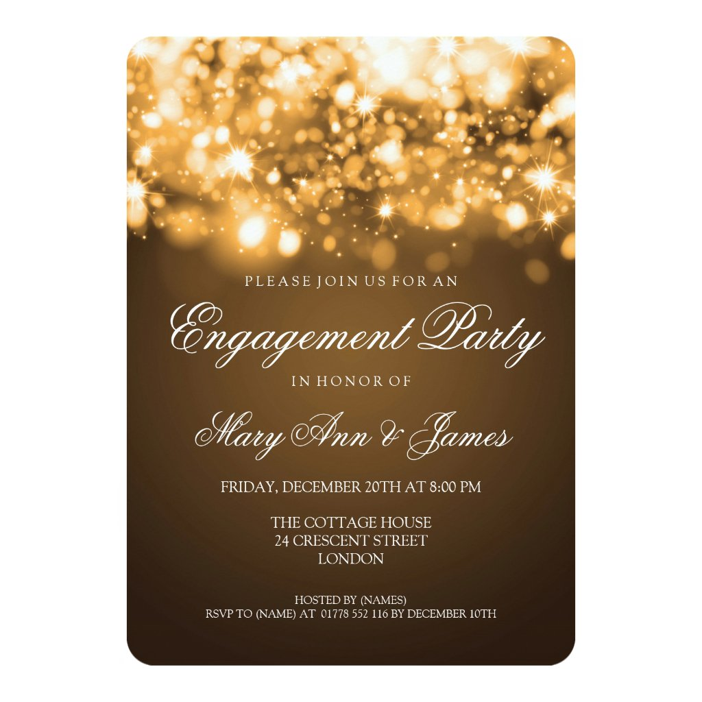 Wedding Engagement Party Sparkling Lights Gold Invitation
