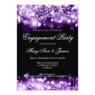 Wedding Engagement Party Sparkling Lights Purple 5x7 Paper Invitation Card