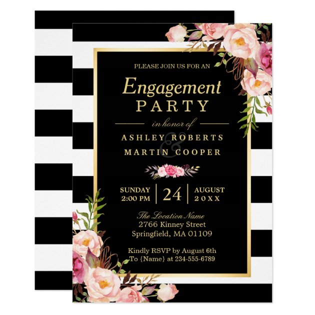 Wedding Engagement Party Vintage Gold Floral Decor Card