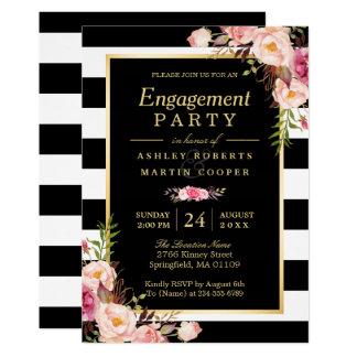 Wedding Engagement Party Vintage Gold Floral Decor Invitation