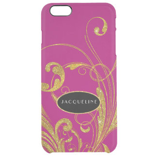 Wedding Engraved Foliage Scroll Swirl Flourishes Clear iPhone 6 Plus Case