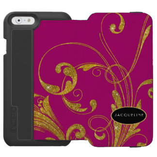 Wedding Engraved Foliage Scroll Swirl Flourishes iPhone 6/6s Wallet Case