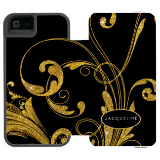 Wedding Engraved Foliage Scroll Swirl Flourishes Wallet Case For iPhone SE/5/5s
