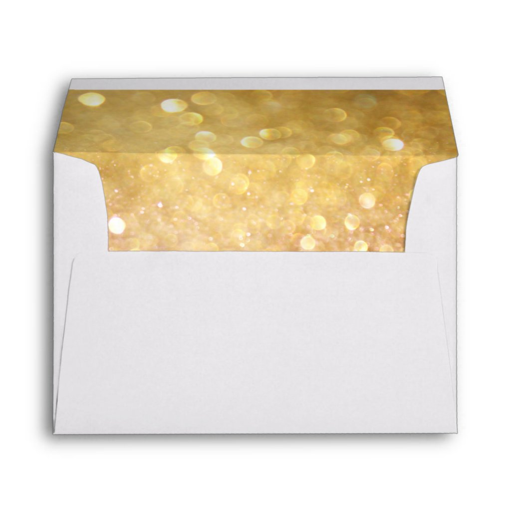 Wedding Envelope for Bokeh Movie Ticket Style Gold 10 envelopes.