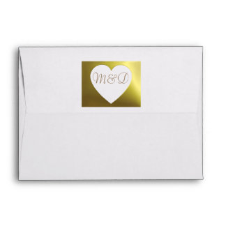 Wedding Envelope Golden Monogram Heart Collection