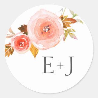 Wedding envelope seals / blush floral watercolor