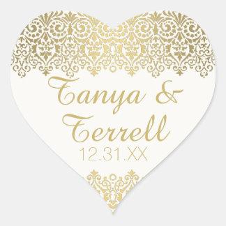 Wedding Envelope Seals Vintage Golden Lace Elegant Heart Sticker