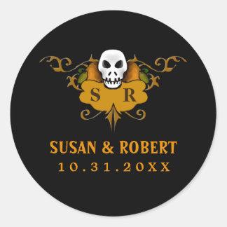 Wedding Envelope Sticker - Halloween Skull