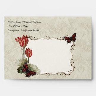 Wedding Envelopes - Black n Cream Red Tulip Damask