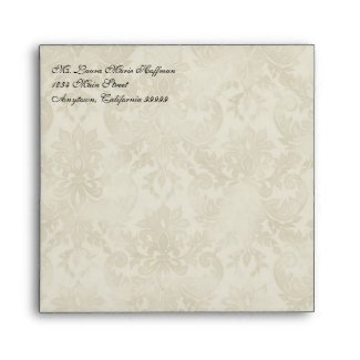 Wedding Envelopes - Impressionist Cream Pink Roses envelope