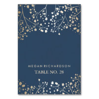 wedding escort cards navy baby's breath gold