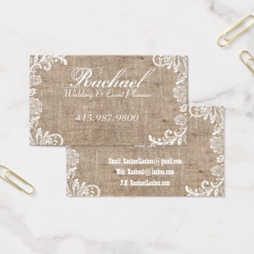 Professional Business Wedding & Event Planner/Burlap & Lace Business Card