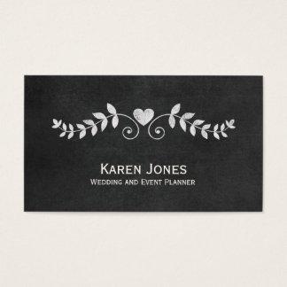 Wedding Event Planner Chalkboard Floral Business Card