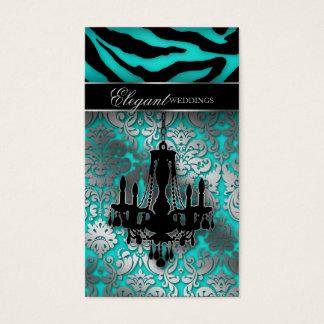Wedding Event Planner Chandelier Blue Silver V Business Card