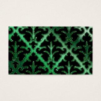 Wedding Event Planner Damask Emerald Green Sparkle Business Card