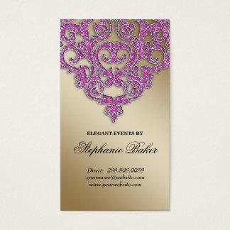 Wedding Event Planner Damask Gold Sparkle Pink V Business Card