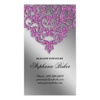 Wedding Event Planner Damask Silver Sparkle Pink V Business Card