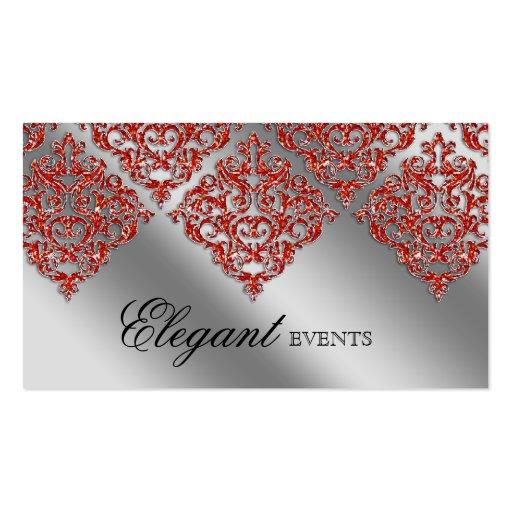 Wedding Event Planner Damask Sparkle Silver Orange Business Card