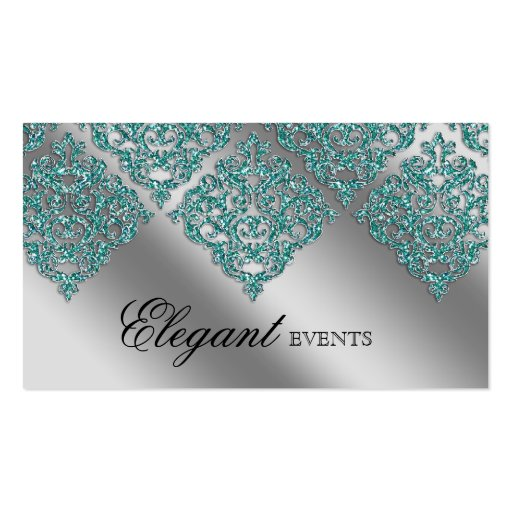Wedding Event Planner Damask Sparkle Silver Teal Business Card Template