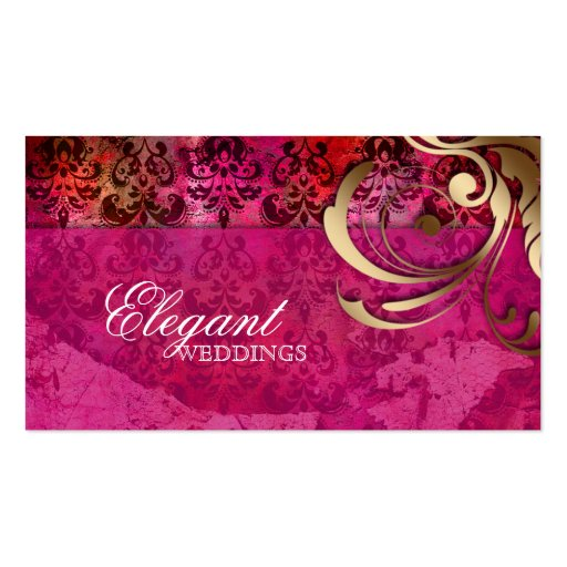 Wedding Event Planner Indian Damask Pink Gold Business Cards