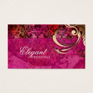 Wedding Event Planner Indian Damask Pink Gold Business Card
