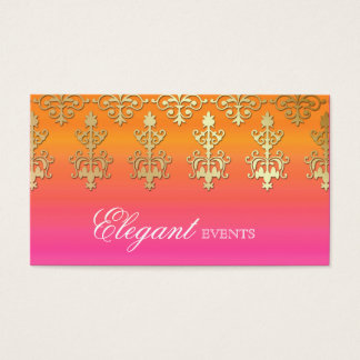 Wedding Event Planner Indian Damask Pink Orange Business Card