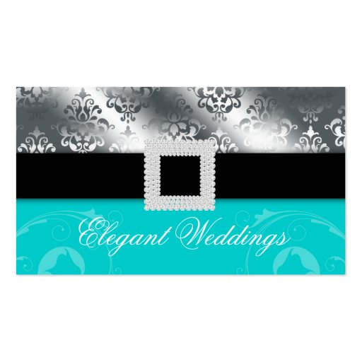 Wedding Event Planner Jewel Blue Silver Business Card Templates