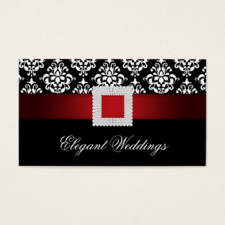 Wedding Event Planner Jewel Brooch Red Black White Business Card