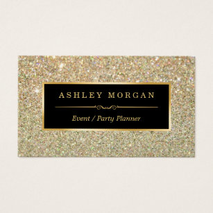 Event planner business cards templates zazzle wedding event planner sassy beauty gold glitter business card reheart Image collections
