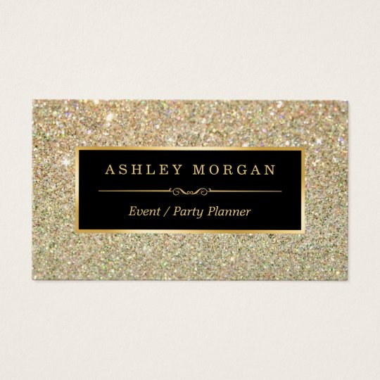 Wedding coordinator business cards templates zazzle wedding event planner sassy beauty gold glitter business card junglespirit Image collections