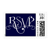 Wedding Event RSVP Navy and White Postage