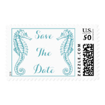 Wedding Event Save The Date Tropical Seahorse Teal Postage