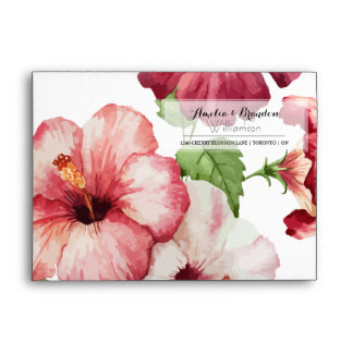 Wedding | Exquisite Rose Red Hibiscus Envelope