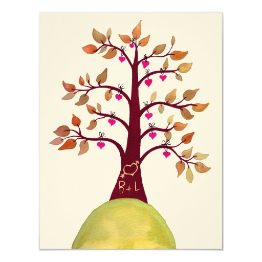 Wedding fall autumn love heart tree carving invite zazzle