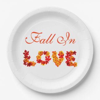 Wedding Fall In Love Colorful Leaves Autumn Rustic Paper Plate