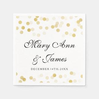Wedding Faux Gold Foil Glitter Lights Paper Napkin