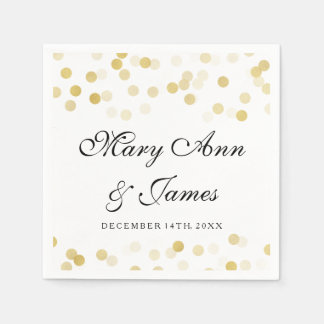 Wedding Faux Gold Foil Glitter Lights Standard Cocktail Napkin